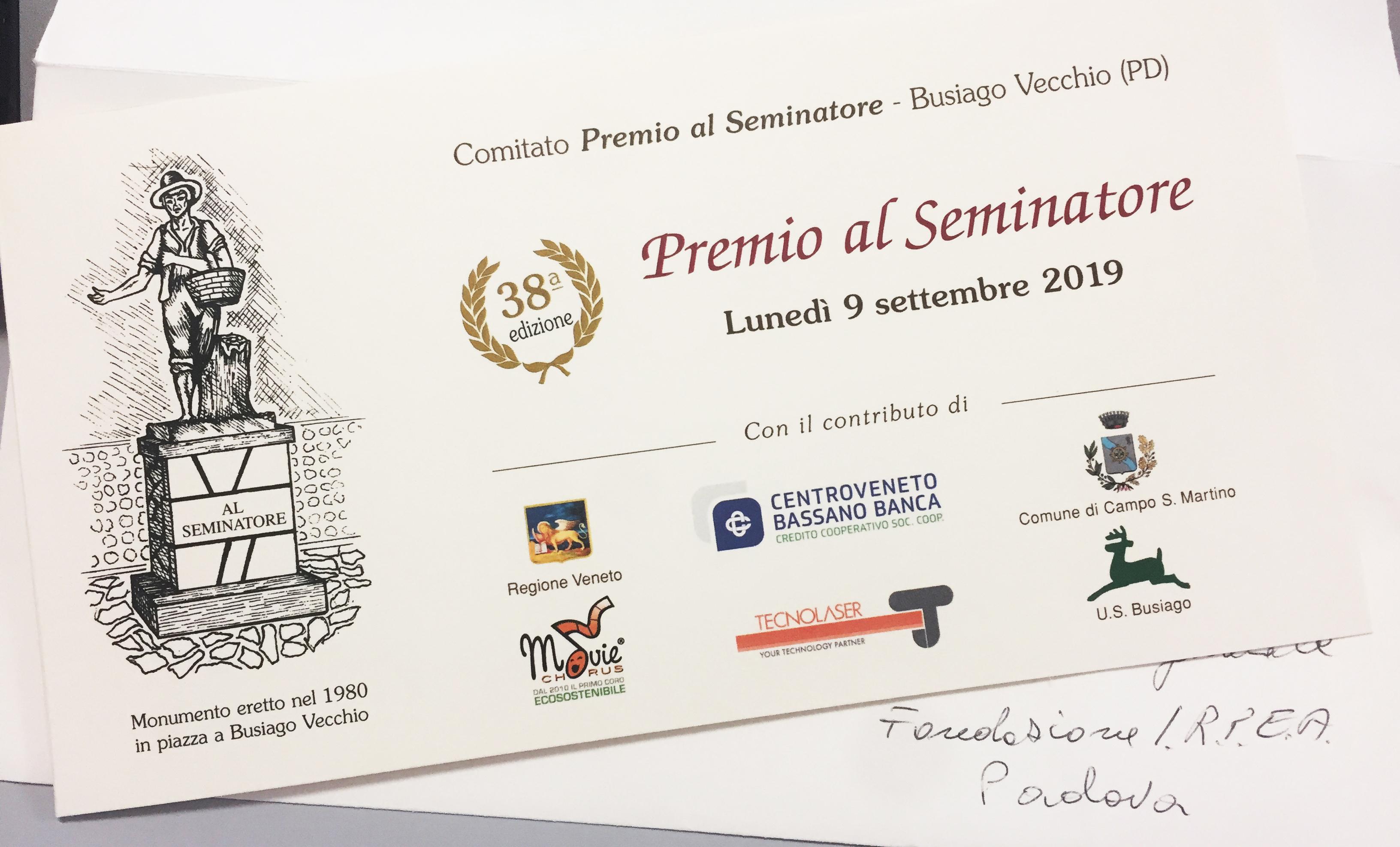 Invito a IRPEA per Premio al Seminatore 2019