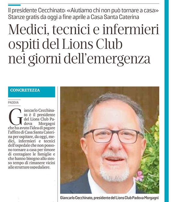 Estratto articolo Il Mattino di Padova del 29 marzo 2020