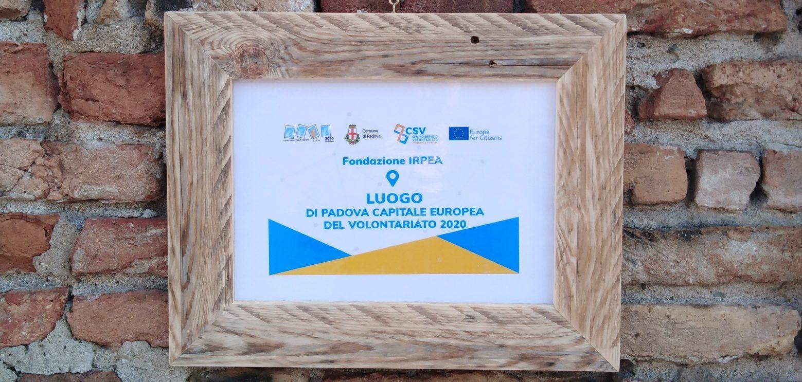 """Targa CSV Padova """"Siamo Luogo di Padova Capitale del Volontariato 2020"""""""